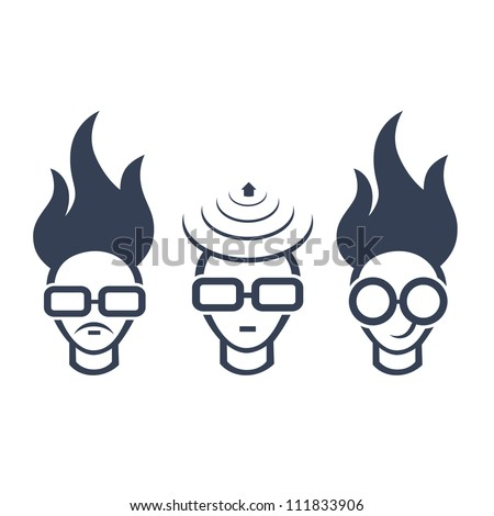 Set of conceptual icons of human head, concept of a bright idea, invention, inspiration. Easy to edit.
