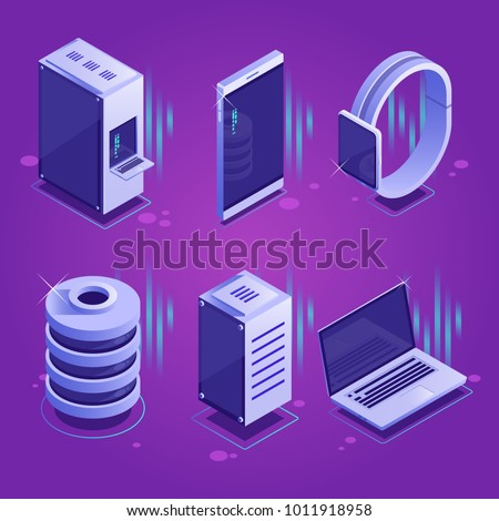 Set of conceptual isometric icons of server and mobile devices.Database,server town and equipment.Vector isometric illustration on a purple gradient background