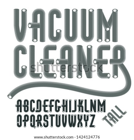 Set of condensed, tall,  cool vector upper case alphabet letters isolated. Trendy type font, script from a to z can be used in poster creation. Created with hosepipe style, plumbing.