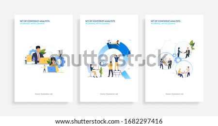 Set of confident analysts working with graphs. Flat vector illustrations of development, optimization, teamwork. Finance concept for banner, website design or landing web page Stock photo ©