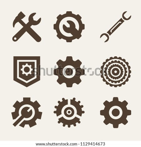 Set of 9 configuration filled icons such as tools cross settings symbol for interface, settings, setting, gear