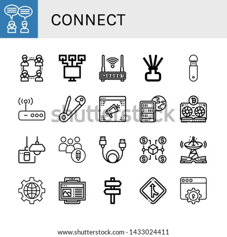 Set of connect icons such as Teamwork, Network, Local network, Router, Diffuser, Usb, Safety pin, Website, Global server, Vga, Turn off, Networking, Data cable, Connection , connect