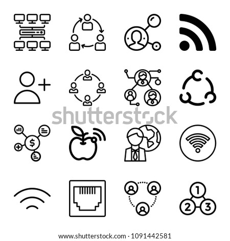Set of 16 connection outline icons such as connection, rss symbol, collaboration, adduser, wifi signal, circular, global, network, analysis process, plug, wifi, networking