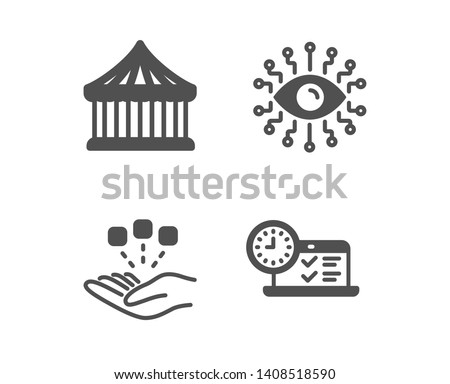 Set of Consolidation, Carousels and Artificial intelligence icons. Online test sign. Strategy, Attraction park, All-seeing eye. Examination.  Classic design consolidation icon. Flat design. Vector