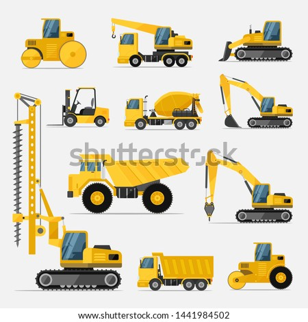 Set of construction equipment in yellow. Special machines for the building and construction work