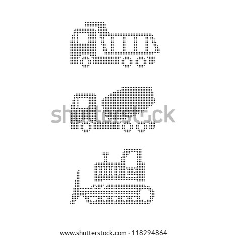 Set of construction equipment on white tractor, grader, truck, truck mixer