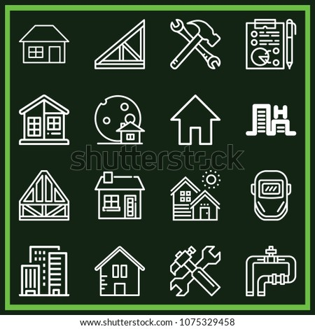 Set of 16 construction outline icons such as tools, home, house, weld, pipe, planning, haunted house, hotel resort, roof, small house, joist