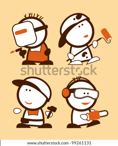 Set of construction professions funny peoples icons. - stock vector