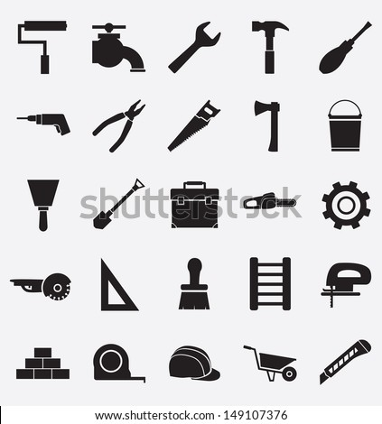 Set of construction tools icons - vector icons