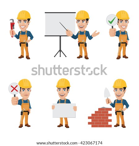 Set of Construction Worker Character in 6 Different Poses - Vol. 2