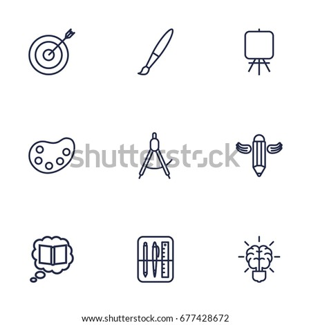 Set Of 9 Constructive Outline Icons Set.Collection Of Writing, Easel, Paintbrush And Other Elements.