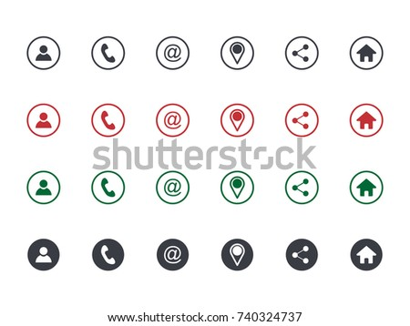 Set of contact detail icon isolated on white background in grey, green, red. Phone, email, address, location icon. Vector illustration for design element, infographics, business card design.