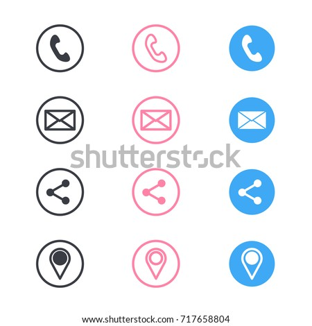 Set of contact detail icon isolated on white background in pink, blue and black. Phone, share, email, location icon. EPS10 vector illustration for design element, infographics, business card design.