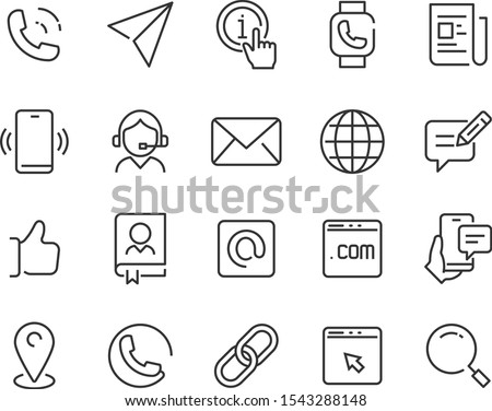 set of contact icons, address, phone