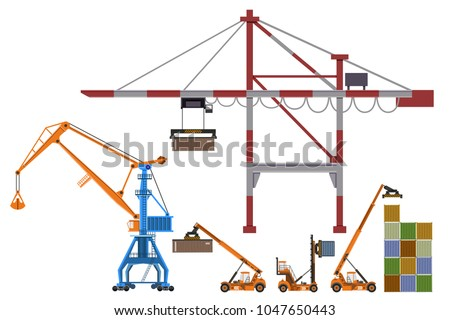 Set of container loaders, gantry and level luffing cranes. Vector illustration isolated on white background