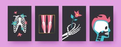 Set of contemporary posters with floral human skeleton parts. Ribcage, hand holding flower, skull vector illustrations, black background. Anatomy concept for designs, social media, postcards