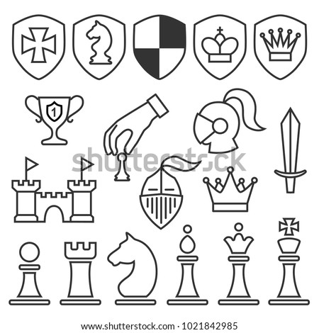 Set of contour chess icons isolated on the white background. Vector illustration