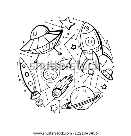 Set of contour child illustrations of stars, spaceships and UFOs. Vector elements for cards, stickers and your creativity