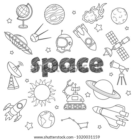 Set of contour icons on the subject of space flight and astronomy, dark   contour  icons on the  white background
