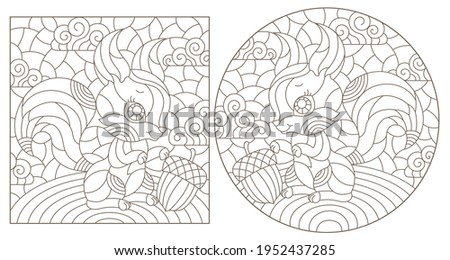 set of contour illustrations in
