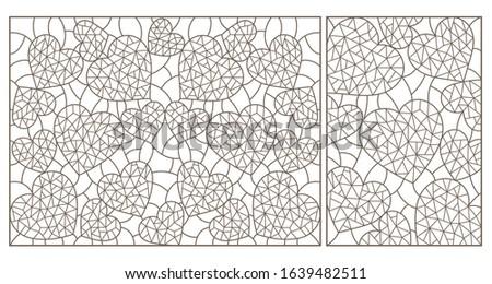 set of contour illustrations of