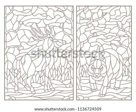 Set Of Contour Illustrations Stained Glass With A Bear And Deer On Forest Landscape Background