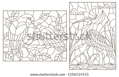 Set of contour illustrations with birds, Heron and a pair of parrots lovebirds, dark contours on a white background