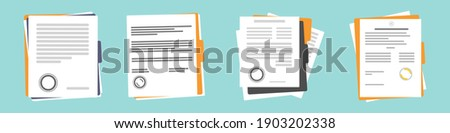 Set of contract or document icons. Document, folder with seal and text. Terms of the contract confirming the study approval document. Contract documents. Document. Folder with stamp and text.