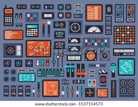 Set of control panel elements for spacecraft or technical industrial station. Vector illustration. Сток-фото ©