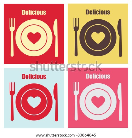 set of cook cards. vector illustration