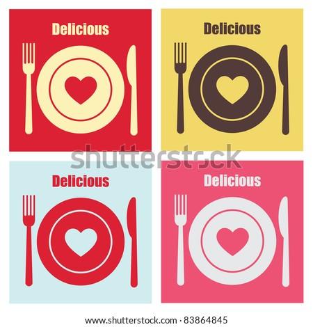 set of cook cards. vector illustration