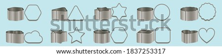 set of cookie cutters cartoon icon design template with various models. vector illustration isolated on blue background Photo stock ©