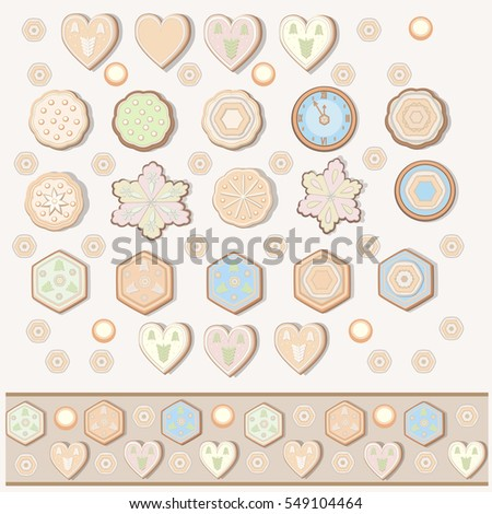 set of cookies of different