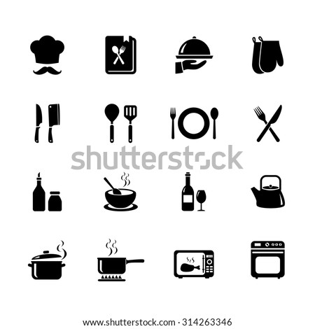 Set of Cooking icon. Kitchen icon. Black icons. Vector. Illustration. EPS10