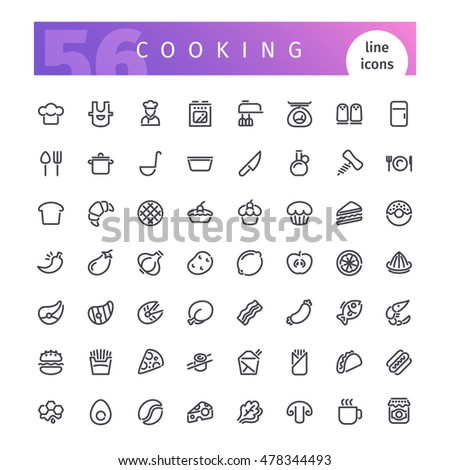 Set of 56 cooking line icons suitable for web, infographics and apps. Isolated on white background. Clipping paths included.