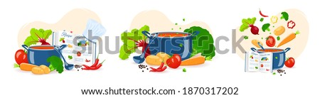 Set of cooking soup. Pan with soup, Recipe book and Vegetables. Recipes, homemade food, food preparation, learning concept. Vector illustration for flyer, poster, banner.