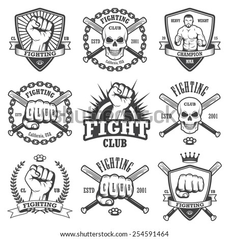 set of cool fighting club