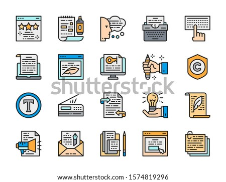 Set of Copywriting Flat Color Icons. Typewriter, Presentations, Writers Website, Printer, Letters, Advertisement Text, Envelope, Stack of Notes and more.