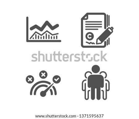 Set of Copywriting, Trade infochart and Correct answer icons. Group sign. Ð¡opyright signature, Business analysis, Speed symbol. Managers.  Classic design copywriting icon. Flat design. Vector