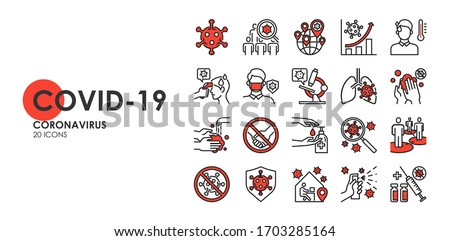 Set of Coronavirus disease COVID-19 Protection Related Vector Line Icons. Such as Covid-19 prevention, Coronavirus Symptoms, Covid outbreak, Social distancing, vector icon