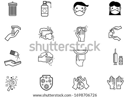 Set of Coronavirus Protection Related Vector icon. In closes such icons as cleaning, protect covid-19, hand dryer, soap, wipe, sanitary and more. Vector health and Prevent disease concept.