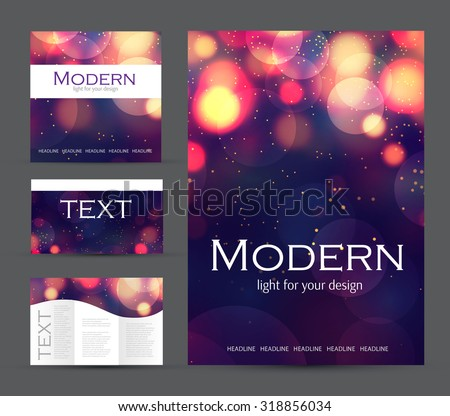 Set of corporate bokeh lights templates. Abstract brochure design. Vector illustration.