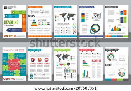 Set of corporate business stationery brochure templates with infographics elements