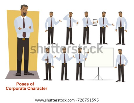 Set of corporate/ businessman African-Americans character with beard in shirt