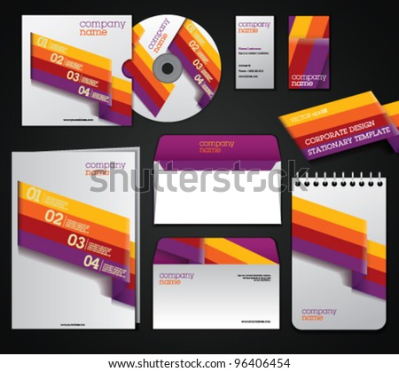 Set of corporate elements. Fully editable. Retro design template for stationery set.