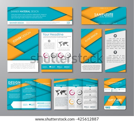 Set of corporate identity of flyers, banners, folding brochures, business cards, hats website and a gift card. the style of the material design. Vector illustration