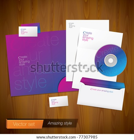 Set of corporate identity template. Vector company style for brandbook and guideline.