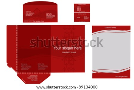 Set of corporate identity templates, business style, red