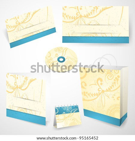 Set of corporate identity templates in blue and yellow colors. Vector illustration. - stock vector