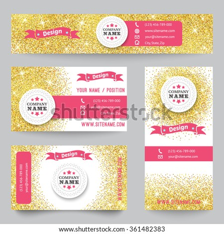 Set of corporate identity templates with golden theme. illustration ...